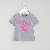 Mini girls grey 'nothing to wear' T-shirt