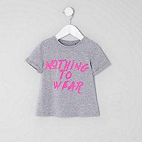 Mini - Grijs T-shirt met 'Nothing to wear'-print voor meisjes