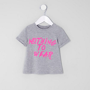 T-shirt « Nothing to wear » gris mini fille