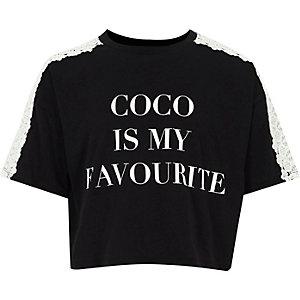 Zwart T-shirt met gehaakte mouwen en 'coco'-print voor meisjes