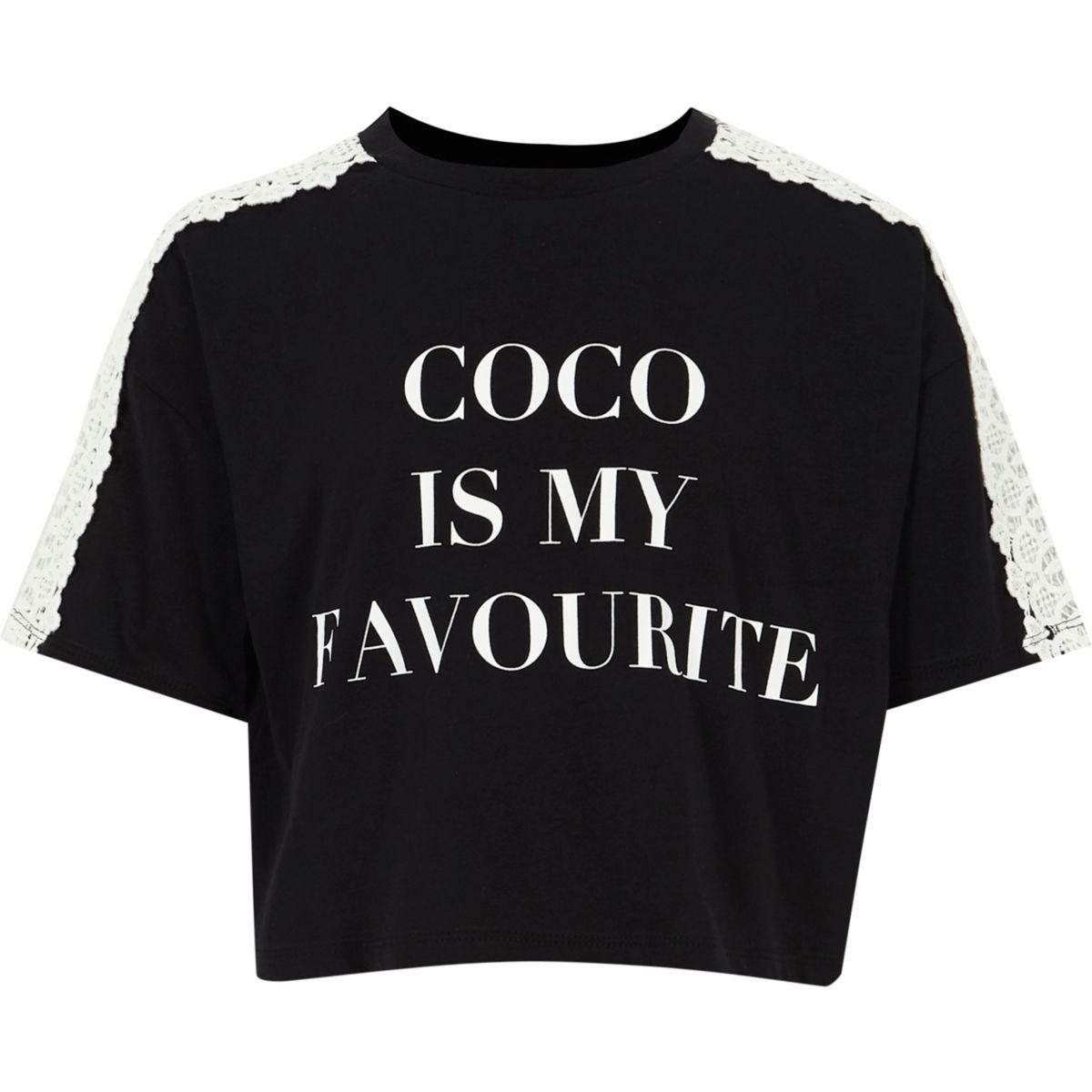 Girls black 'coco' crochet sleeve T-shirt
