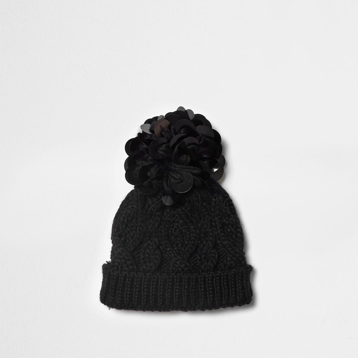 Mini girls black disk sequin knit beanie hat