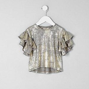 Mini - Goudkleurig T-shirt met folie-effect en ruches op de mouwen voor meisjes