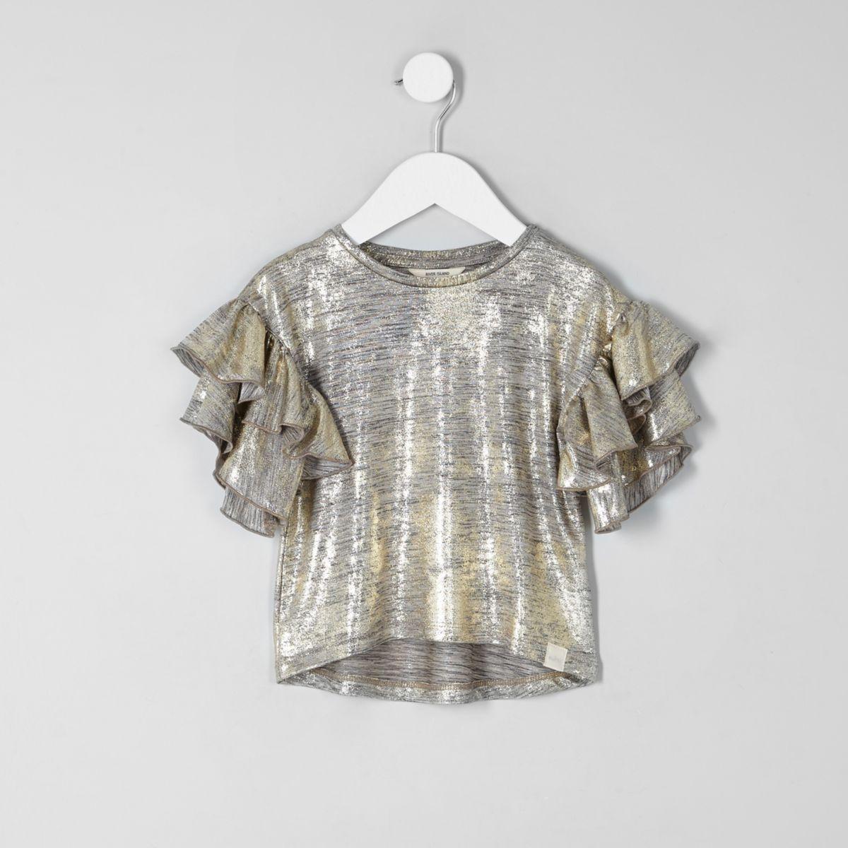 Mini girls gold foil frill sleeve T-shirt
