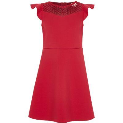 River Island Donkerroze getailleerde jurk met gehaakte hals voor meisjes