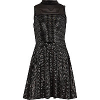 Girls black mirror sequin velvet prom dress
