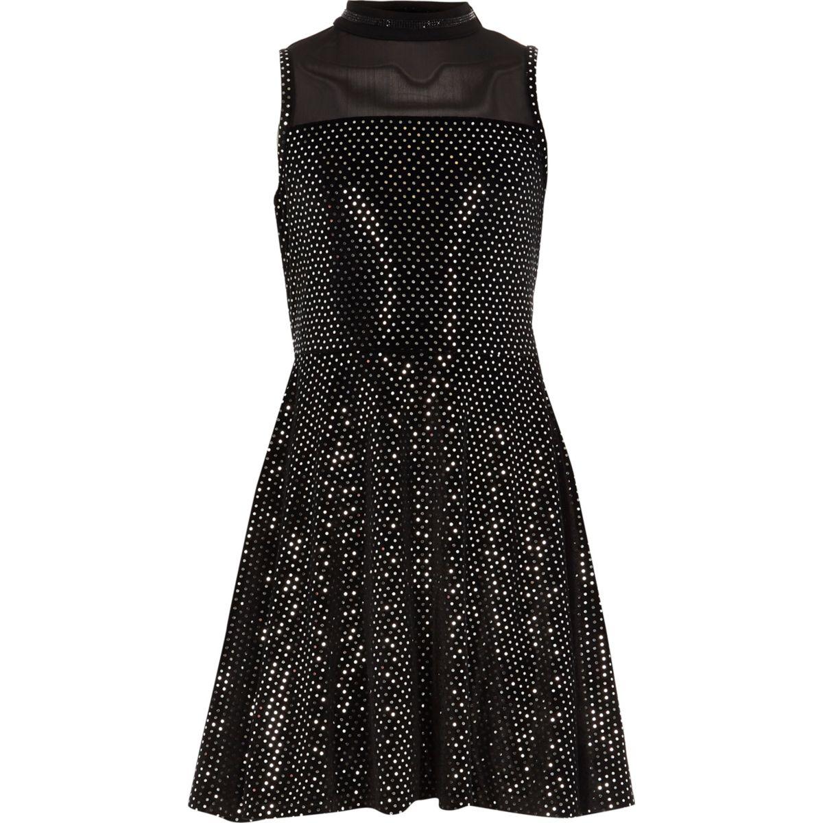 Girls black mirror sequin velvet prom dress