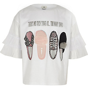Girls white 'shoes' embellished T-shirt