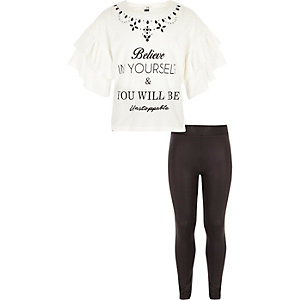 Girls white frill print T-shirt outfit