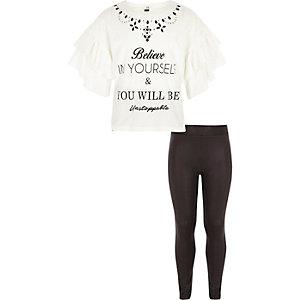 Outfit met wit T-shirt met ruches en print voor meisjes