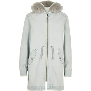 Girls blue denim parka coat