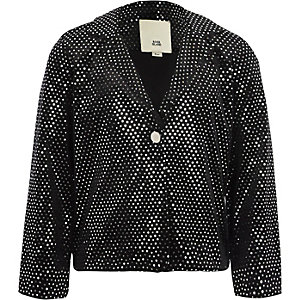 Girls black velvet mirror dot sequin blazer