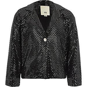 Girls black velvet mirror dot sequin blazer