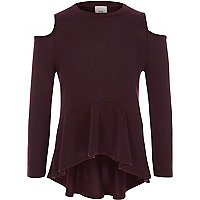 Girls burgundy cold shoulder peplum sweater