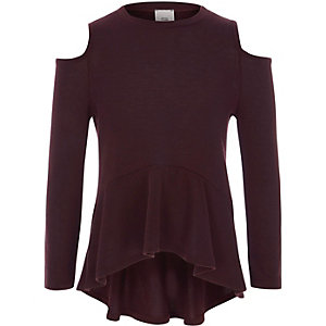 Girls burgundy cold shoulder peplum jumper