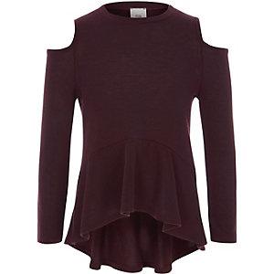 Girls burgundy cold shoulder peplum sweater