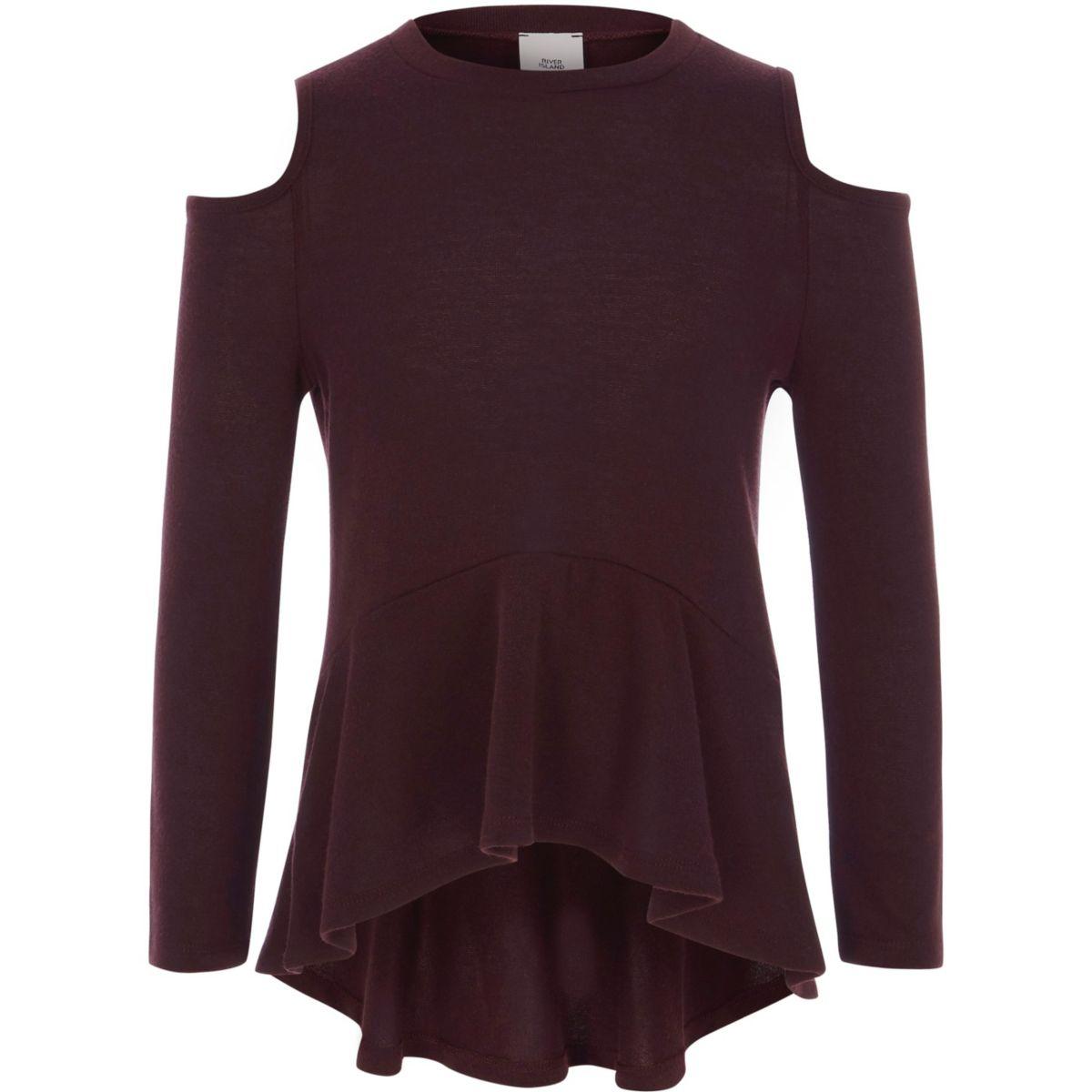 Girls burgundy cold shoulder peplum jumper