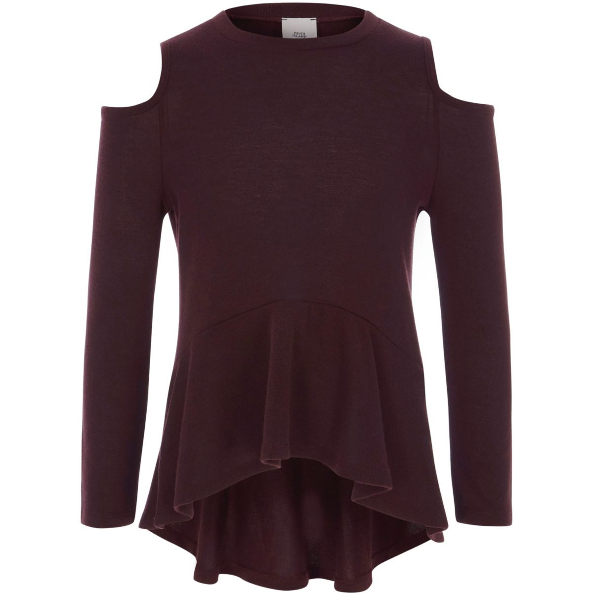 Girls burgundy cold shoulder peplum sweater - Cardigans / Sweaters ...