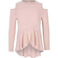Girls pink cold shoulder peplum jumper