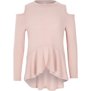 Girls pink cold shoulder peplum sweater