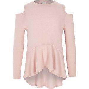 Roze schouderloze pullover met peplum voor meisjes