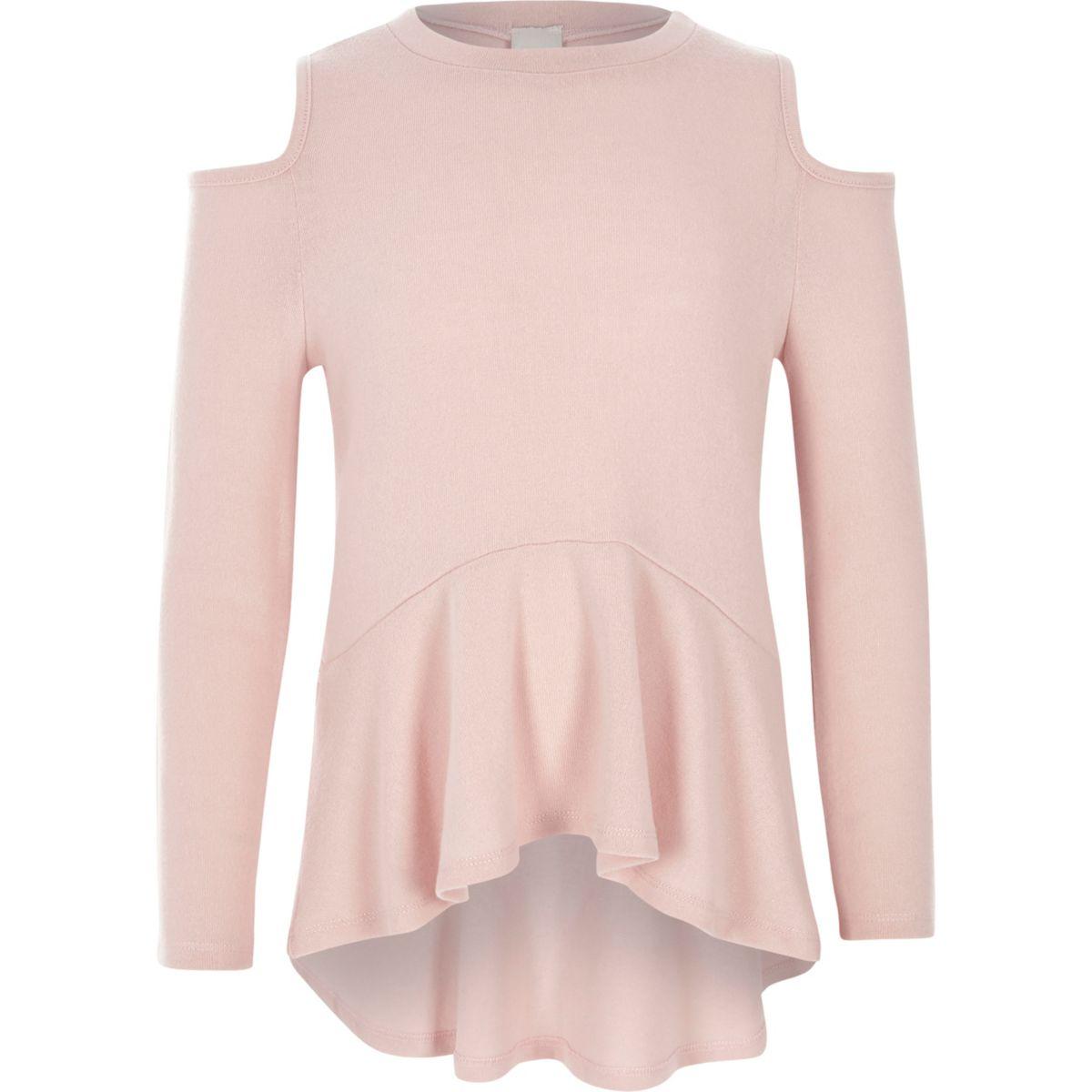 Girls pink cold shoulder peplum sweater