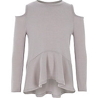 Girls grey cold shoulder peplum jumper