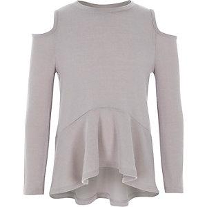 Girls grey cold shoulder peplum sweater