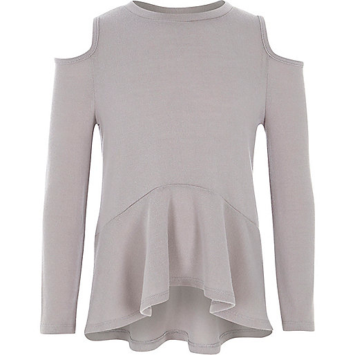 Girls grey cold shoulder peplum sweater