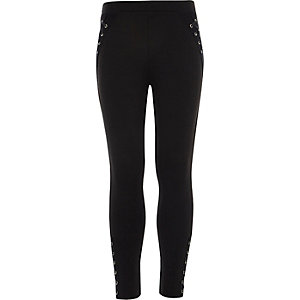 Girls black eyelet lace-up leggings