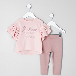 Ensemble avec top « believe » rose à paillettes mini fille