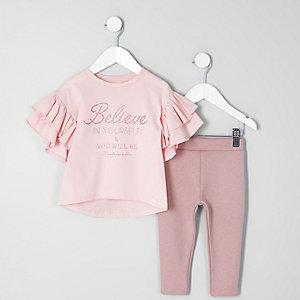 Mini - Outfit met roze glittertop en 'Believe'-print voor meisjes