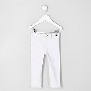 Molly – Jegging blanc à ourlet effiloché mini fille