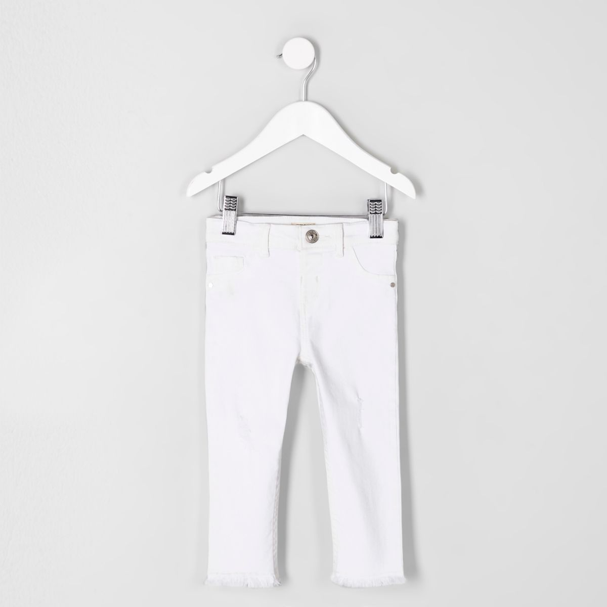 Mini girls white Molly frayed hem jeggings