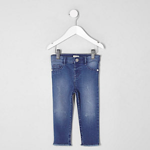 Mini girls blue skinny fit Molly jeggings