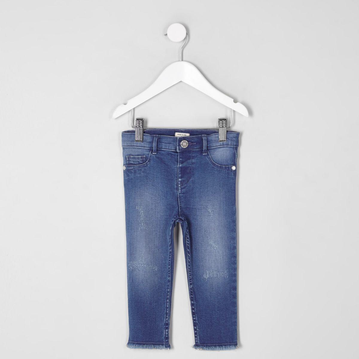 Mini girls blue skinny fit Molly jeggings