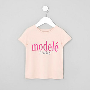 Mini girls pink 'modele' print T-shirt