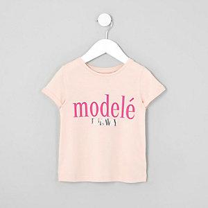Mini - Roze T-shirt met 'modele'-print voor meisjes