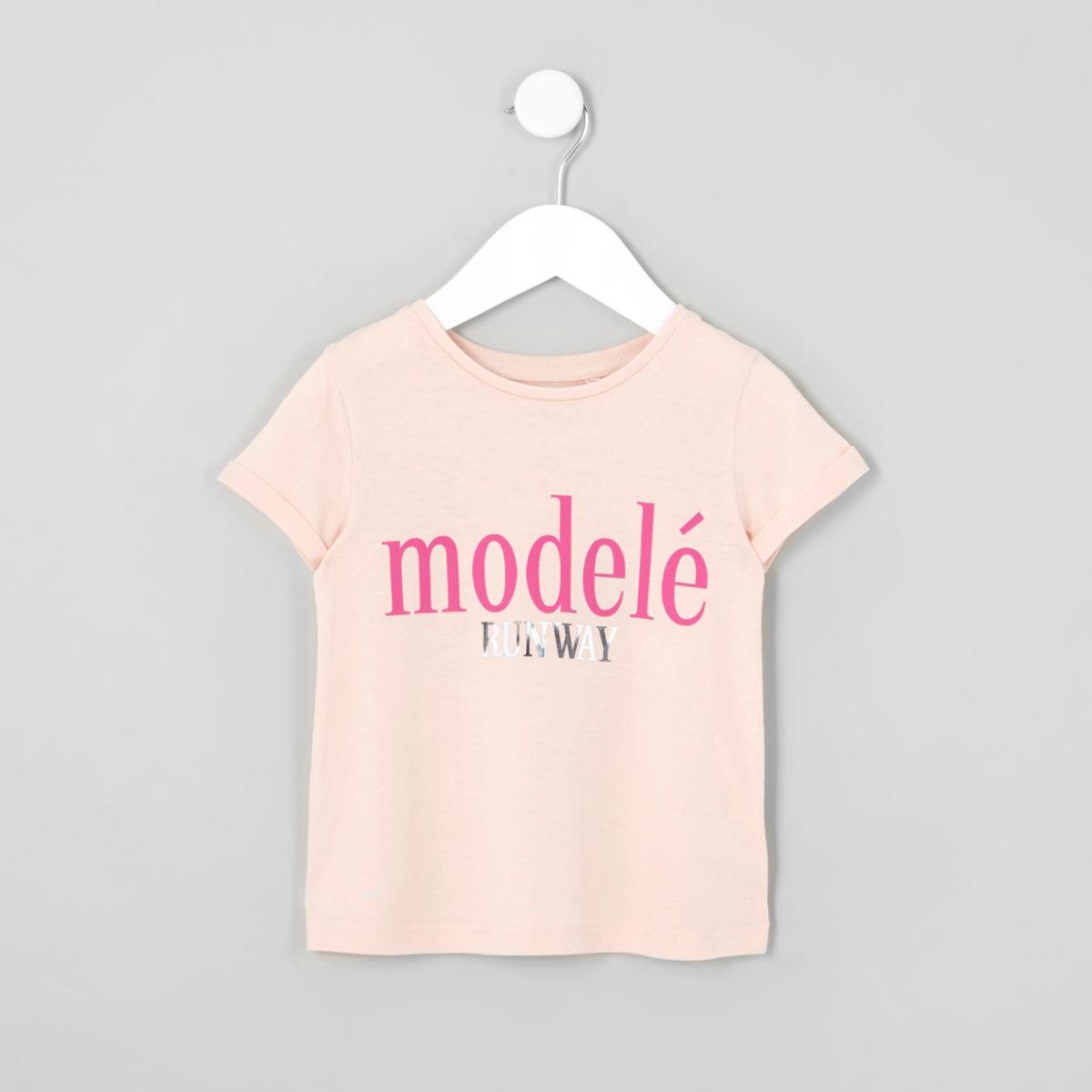 T-shirt imprimé «modèle» rose mini fille