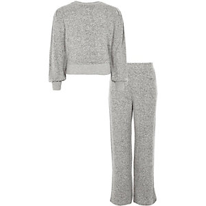 Girls grey knitted jogger outfit