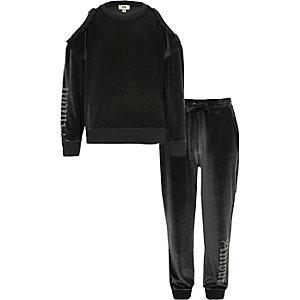 Ensemble avec pantalon de jogging en velours gris clouté pour fille