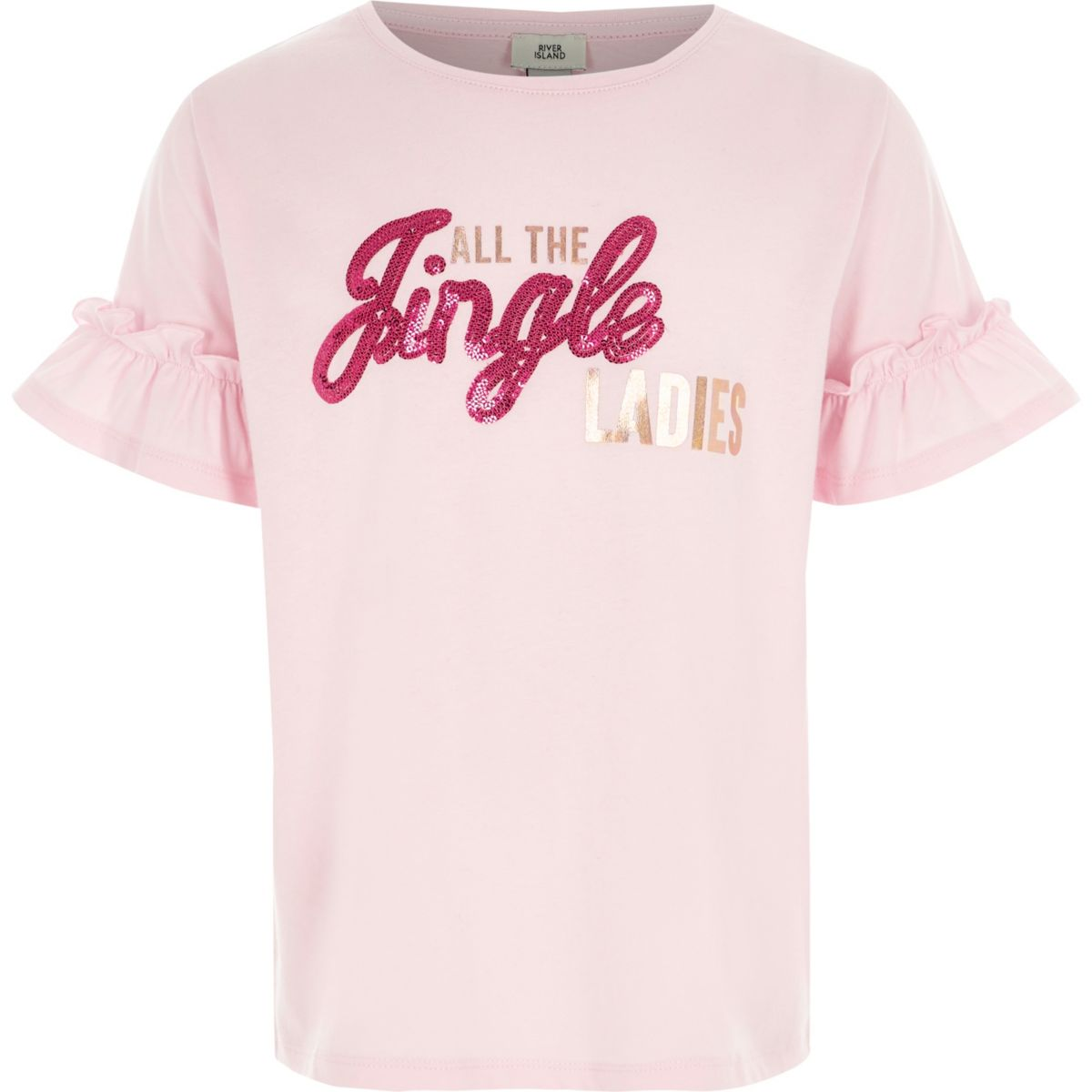 Girls pink 'jingle' sequin Christmas T-shirt