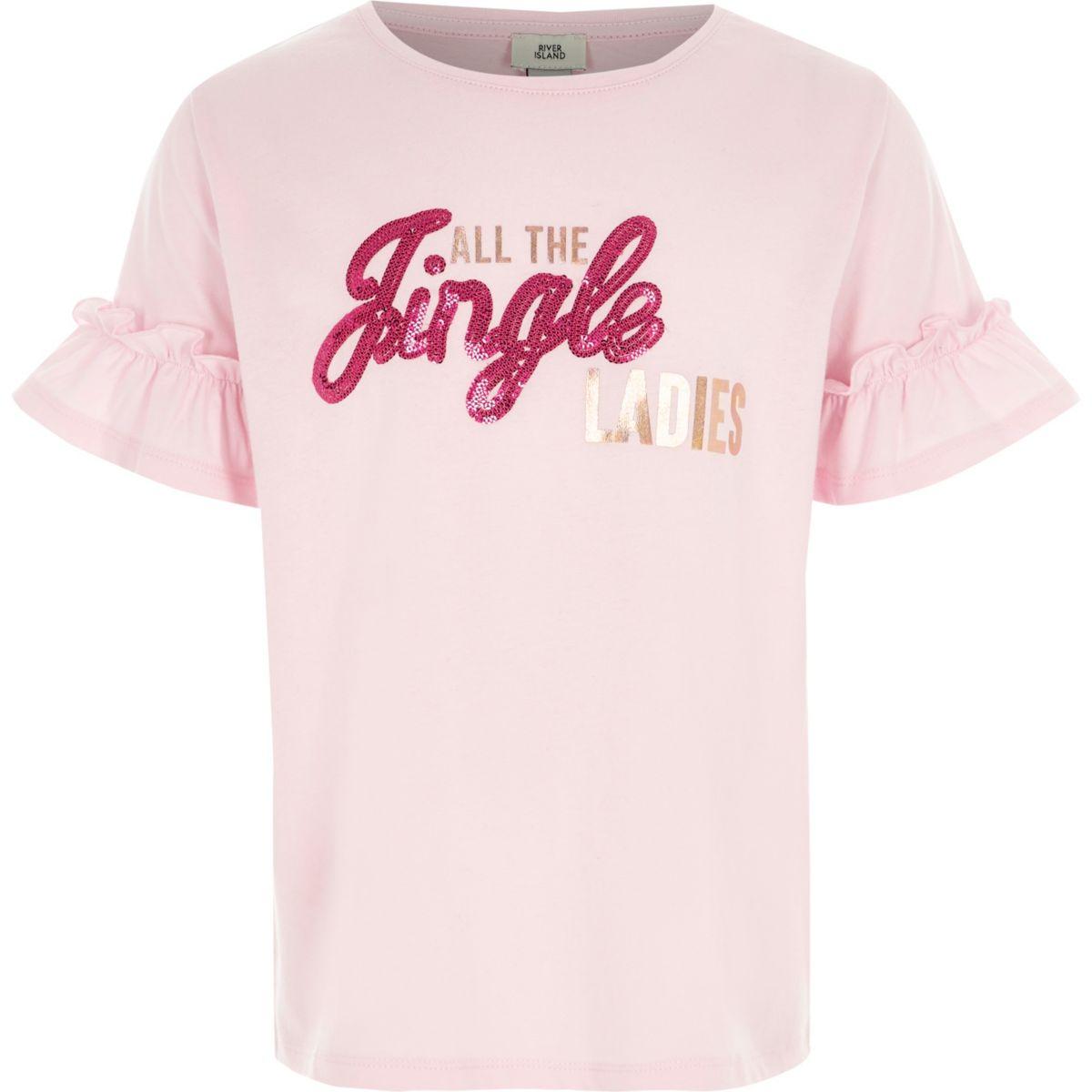 T-shirt de Noël «jingle» rose à sequins pour fille