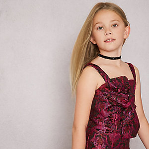 Girls pink RI Studio jacquard bow front top