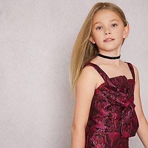 RI Studio – Top en jacquard rose avec nœud sur le devant pour fille