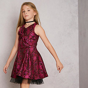 Robe de bal en jacquard rose RI Studio fille