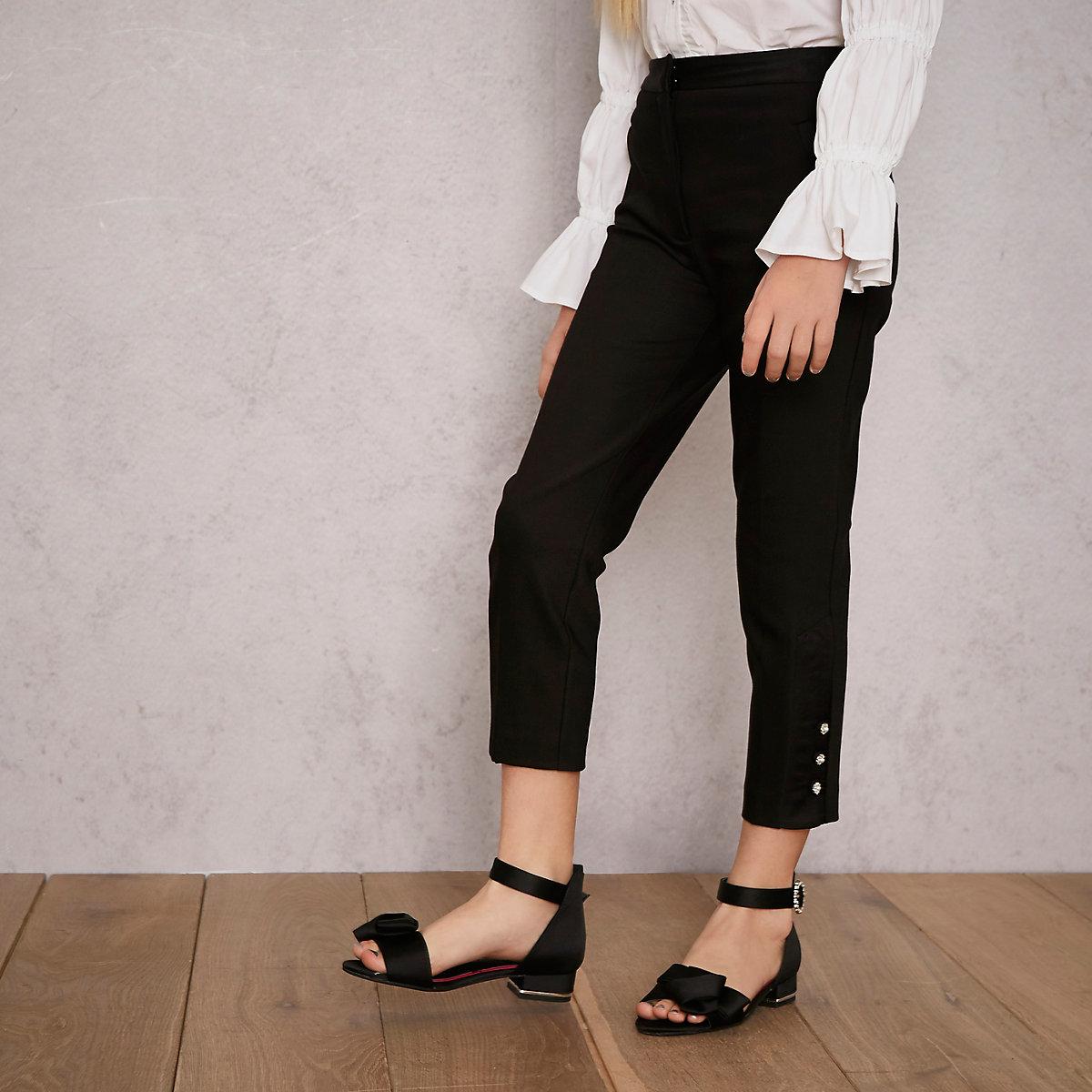 Girls black RI Studio tapered trousers