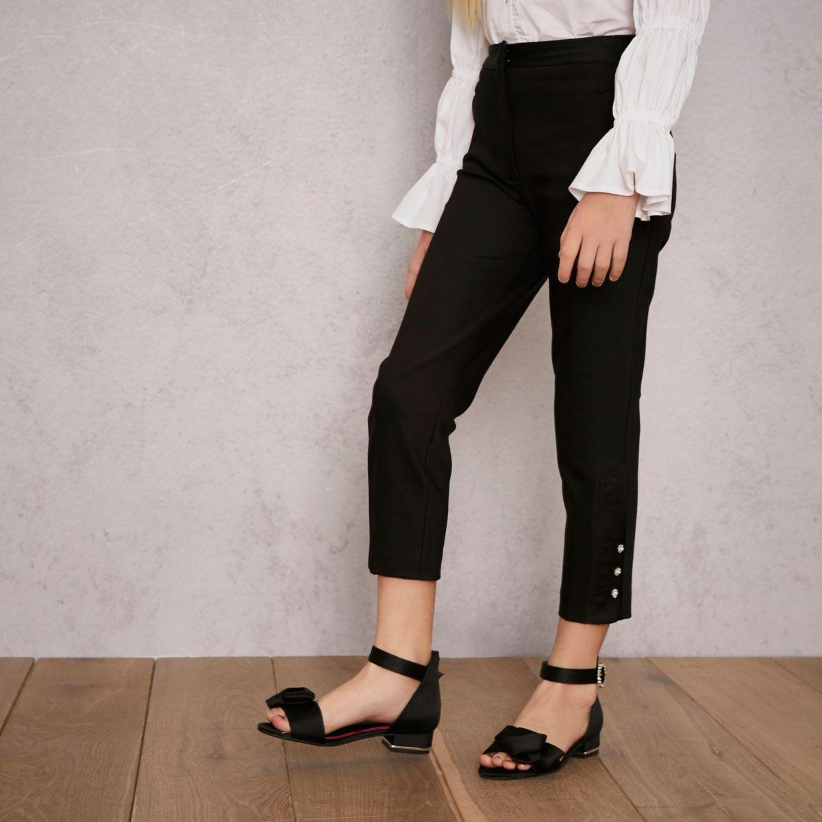 Girls black RI Studio tapered pants
