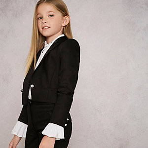 Girls black RI Studio tuxedo jacket