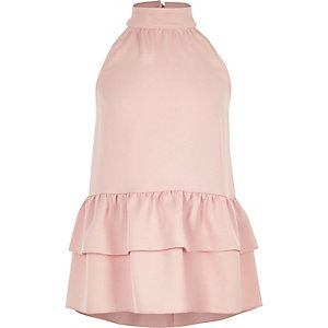 Girls pink halter neck frill hem top